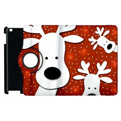 Christmas Reindeer   Red 2 Apple Ipad 3/4 Flip 360 Case by Valentinaart