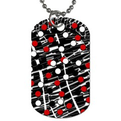 Red And White Dots Dog Tag (two Sides) by Valentinaart