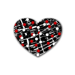 Red And White Dots Rubber Coaster (heart)  by Valentinaart
