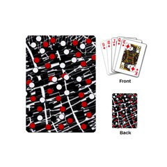Red And White Dots Playing Cards (mini)  by Valentinaart