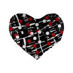 Red And White Dots Standard 16  Premium Heart Shape Cushions by Valentinaart