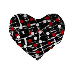 Red And White Dots Standard 16  Premium Flano Heart Shape Cushions by Valentinaart