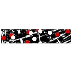 Red And White Dots Flano Scarf (small) by Valentinaart