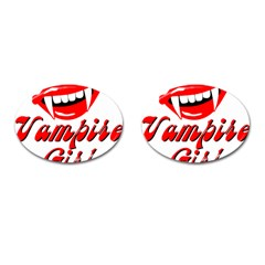 Vampire Girl Cufflinks (oval) by igorsin