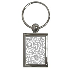 Gray And White Floral Pattern Key Chains (rectangle)  by Valentinaart