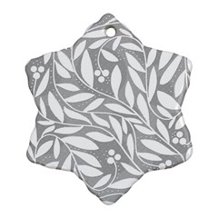 Gray And White Floral Pattern Ornament (snowflake)  by Valentinaart