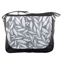 Gray And White Floral Pattern Messenger Bags by Valentinaart