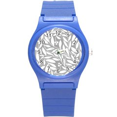 Gray And White Floral Pattern Round Plastic Sport Watch (s) by Valentinaart
