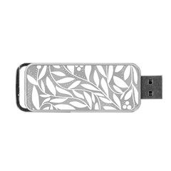 Gray And White Floral Pattern Portable Usb Flash (two Sides) by Valentinaart