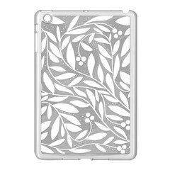 Gray And White Floral Pattern Apple Ipad Mini Case (white) by Valentinaart