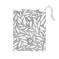 Gray And White Floral Pattern Drawstring Pouches (large)  by Valentinaart