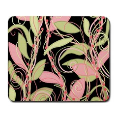 Pink And Ocher Ivy Large Mousepads by Valentinaart