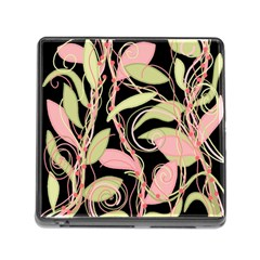 Pink And Ocher Ivy Memory Card Reader (square) by Valentinaart