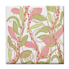Pink and ocher ivy 2 Tile Coasters by Valentinaart