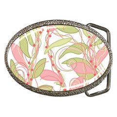 Pink And Ocher Ivy 2 Belt Buckles