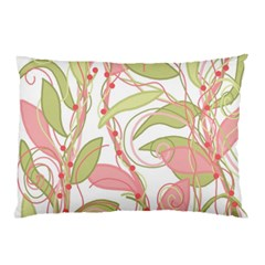 Pink And Ocher Ivy 2 Pillow Case by Valentinaart