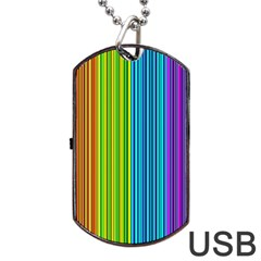 Colorful Lines Dog Tag Usb Flash (one Side) by Valentinaart