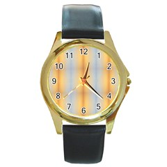 Blue Yellow Summer Pattern Round Gold Metal Watch