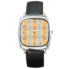 Blue Yellow Summer Pattern Square Metal Watch by Costasonlineshop
