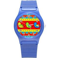 Birds pattern Round Plastic Sport Watch (S) by Valentinaart