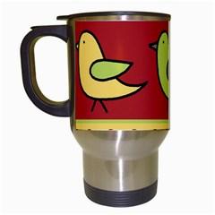 Brown Bird Pattern Travel Mugs (white) by Valentinaart