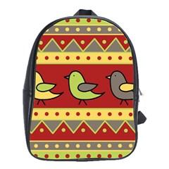 Brown Bird Pattern School Bags(large)  by Valentinaart