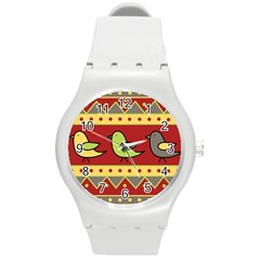 Brown Bird Pattern Round Plastic Sport Watch (m) by Valentinaart