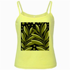 Gray Plant Design Yellow Spaghetti Tank by Valentinaart