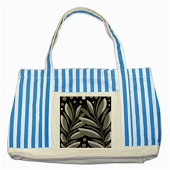 Gray Plant Design Striped Blue Tote Bag by Valentinaart