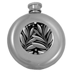 Gray Plant Design Round Hip Flask (5 Oz) by Valentinaart