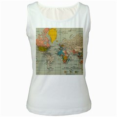 Vintage World Map Women s White Tank Top by Zeze