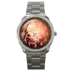 Wonderful Flowers In Soft Colors With Bubbles Sport Metal Watch by FantasyWorld7