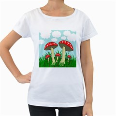 Mushrooms  Women s Loose Fit T Shirt (white) by Valentinaart