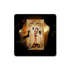 Halloween, Cute Girl With Pumpkin And Spiders Square Magnet by FantasyWorld7