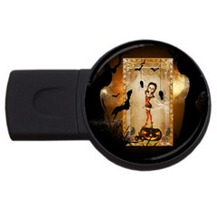 Halloween, Cute Girl With Pumpkin And Spiders Usb Flash Drive Round (2 Gb)  by FantasyWorld7