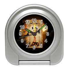 Halloween, Cute Girl With Pumpkin And Spiders Travel Alarm Clocks by FantasyWorld7
