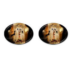 Halloween, Cute Girl With Pumpkin And Spiders Cufflinks (oval) by FantasyWorld7