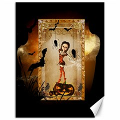 Halloween, Cute Girl With Pumpkin And Spiders Canvas 12  X 16   by FantasyWorld7