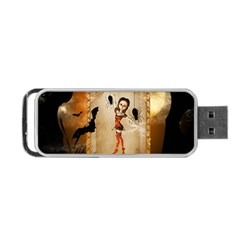 Halloween, Cute Girl With Pumpkin And Spiders Portable Usb Flash (two Sides) by FantasyWorld7