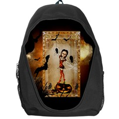 Halloween, Cute Girl With Pumpkin And Spiders Backpack Bag by FantasyWorld7