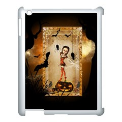 Halloween, Cute Girl With Pumpkin And Spiders Apple Ipad 3/4 Case (white) by FantasyWorld7