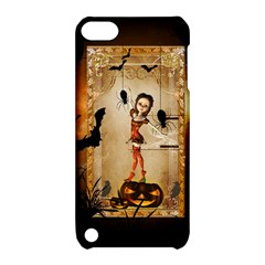 Halloween, Cute Girl With Pumpkin And Spiders Apple Ipod Touch 5 Hardshell Case With Stand by FantasyWorld7