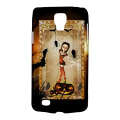 Halloween, Cute Girl With Pumpkin And Spiders Galaxy S4 Active by FantasyWorld7