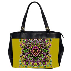 Fantasy Flower Peacock With Some Soul In Popart Office Handbags (2 Sides)  by pepitasart