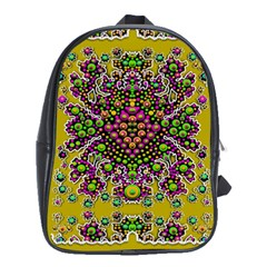 Fantasy Flower Peacock With Some Soul In Popart School Bags (xl)  by pepitasart