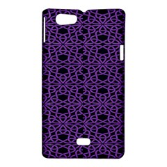 Triangle Knot Purple And Black Fabric Sony Xperia Miro by Zeze