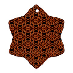 Triangle Knot Orange And Black Fabric Snowflake Ornament (2-Side) by Zeze