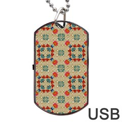 Traditional Scandinavian Pattern Dog Tag USB Flash (Two Sides)  by Zeze