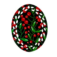 Red Christmas Berries Oval Filigree Ornament (2 Side)  by Valentinaart