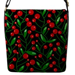 Red Christmas Berries Flap Messenger Bag (s) by Valentinaart
